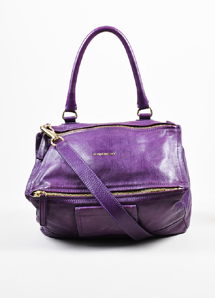 "Purple Leather Gold Toned Zip Givenchy ""Medium Pandora"" Messenger Bag Frontview"