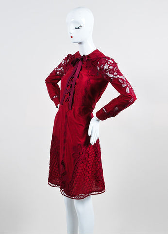 Cranberry Red Gucci Crotcheted Long Sleeve Laceup Dress Side