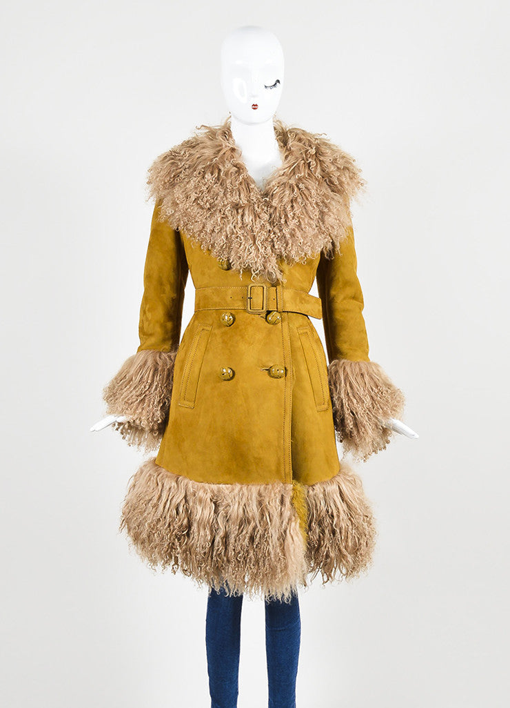 Tan Gucci Shearling Mongolian Fur Double Breasted Belted Coat Frontview