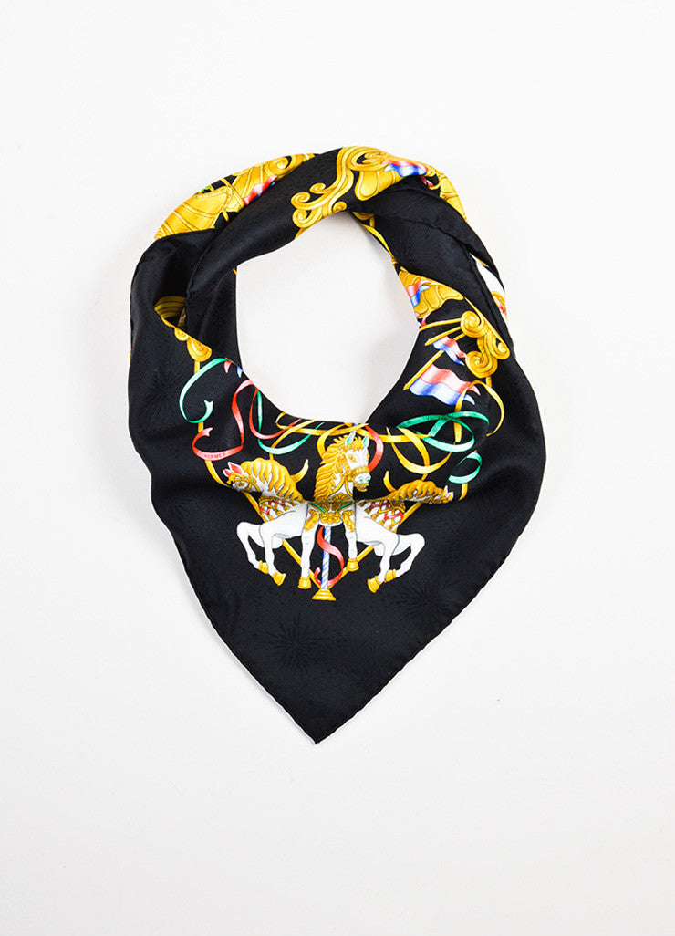 "Hermes Black, Gold, and Multicolor Silk Carousel Motif ""Luna Park"" Scarf Frontview"
