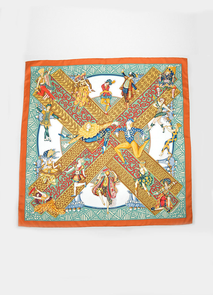 "Multicolor Hermes Silk ""Les Ballets Russes"" Printed 90cm Scarf Frontview 2"