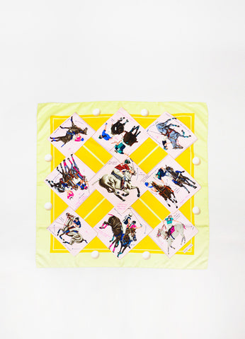 "Hermes Pink, Yellow, and Green Silk Polo Tournament ""Cup Palm Beach"" Print 90cm Scarf Frontview 2"
