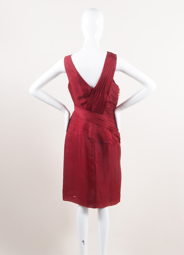 J. Mendel New With Tags Red Silk Pleated Sleeveless Sheath Dress Backview