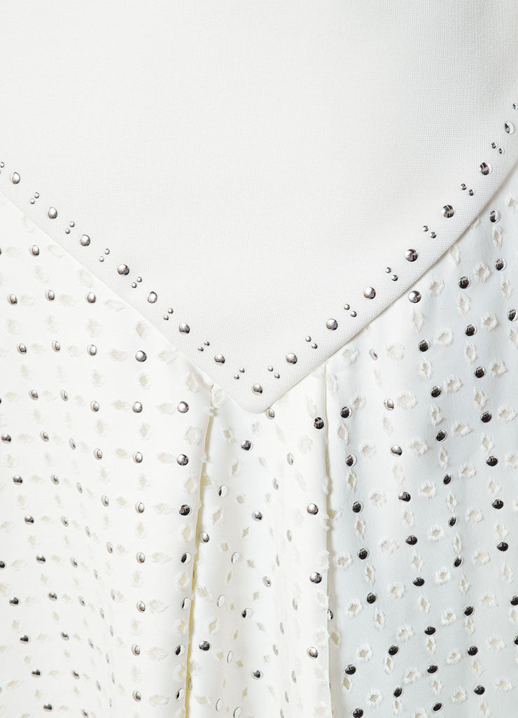 Jay Ahr White Eyelet Studs Asymmetrical Cut Out Sleeveless Dress Detail
