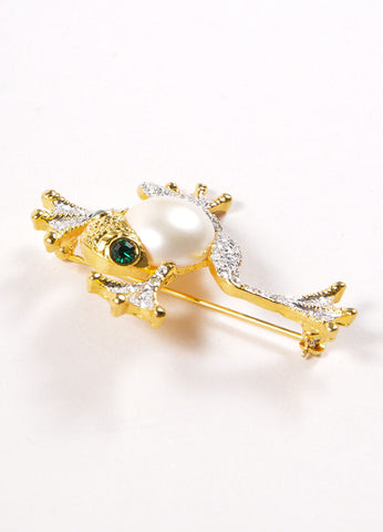 Kenneth Jay Lane Gold and Silver Toned Faux Pearl Rhinestone Frog Brooch Sideview
