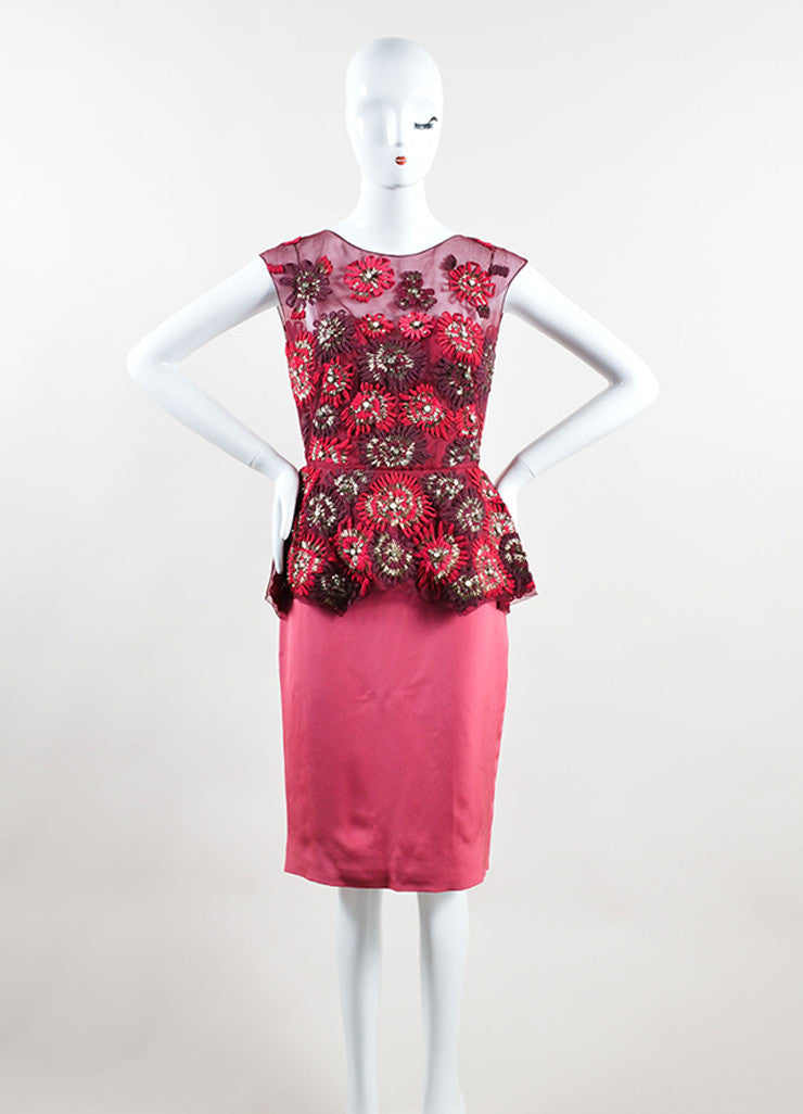 Lela Rose Red and Pink Silk Sequin Crystal Floral Peplum Sheath Dress Frontview