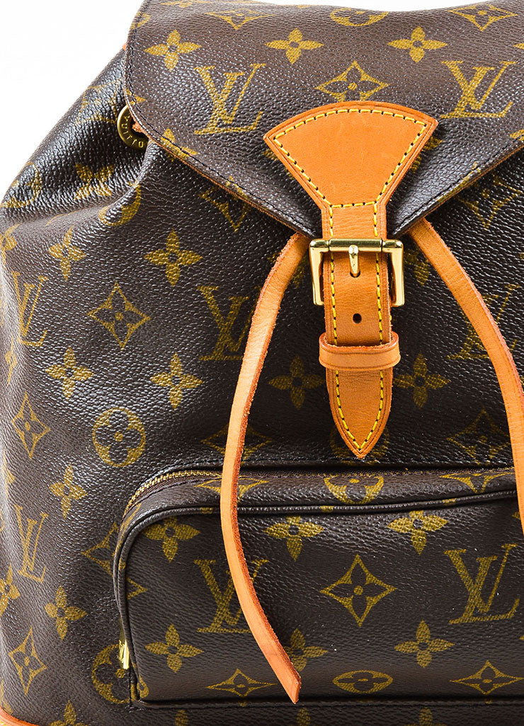 "Louis Vuitton Brown Canvas Monogram Drawstring ""Montsouris MM"" Backpack Detail"