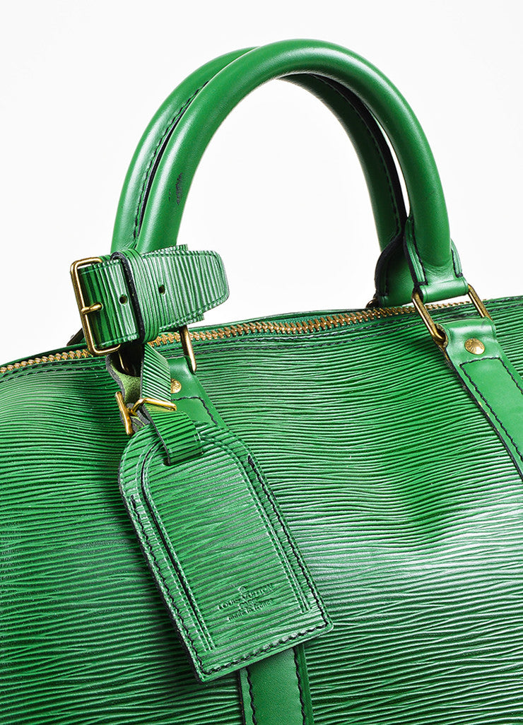 "Louis Vuitton Borneo Green Epi Leather ""Keepall 55"" Travel Duffel Bag Detail 4"