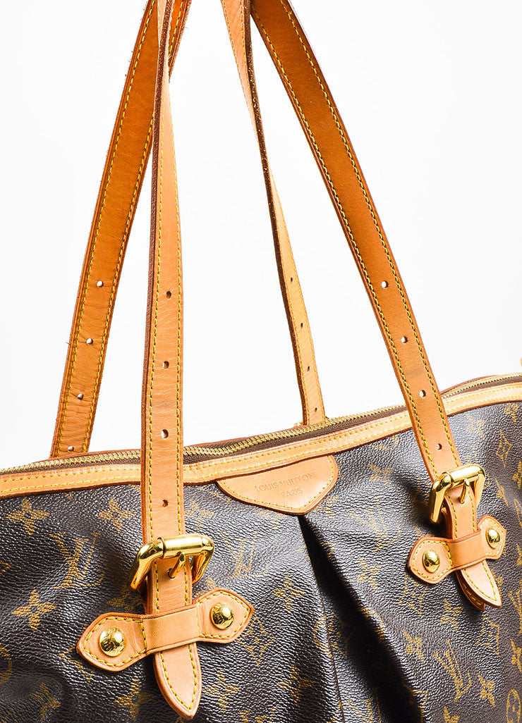 "Louis Vuitton Brown Coated Canvas Monogram ""Palermo GM"" Tote Bag Detail 2"