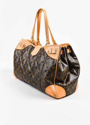"Brown Tan Louis Vuitton Coated Canvas Monogram Quilted ""Etoile Tote Back"