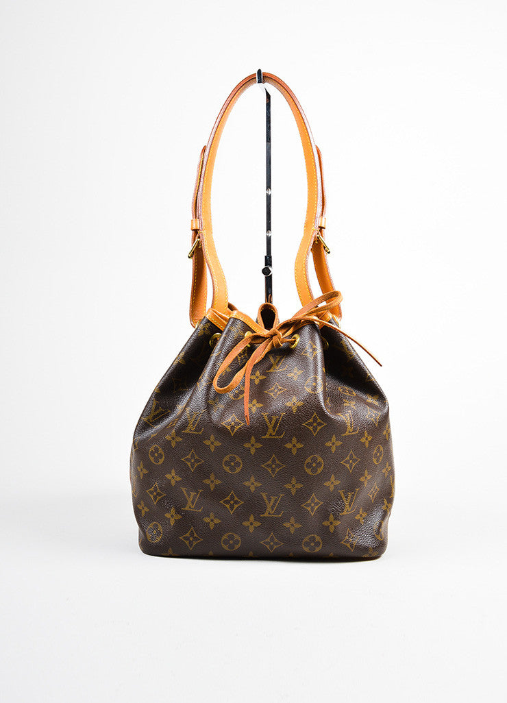 "Brown and Tan Louis Vuitton Monogram Coated Canvas ""Petit Noe"" Bucket Bag Frontview"