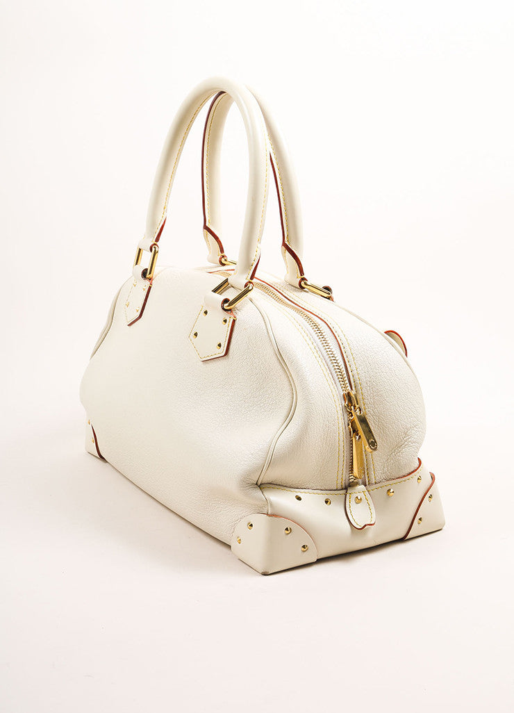 "Louis Vuitton Cream and Gold Toned Suhali Leather Studded ""Le Superbe"" Satchel Bag Sideview"