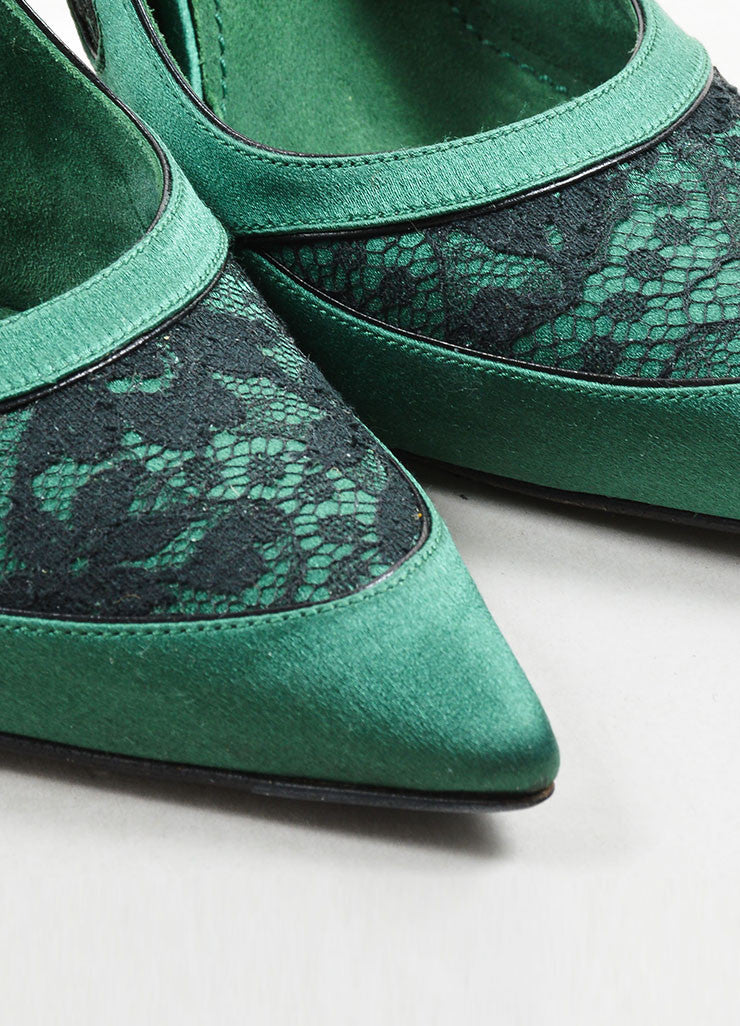 Louis Vuitton Green Lace Pointed Toe Slingback Pumps Detail