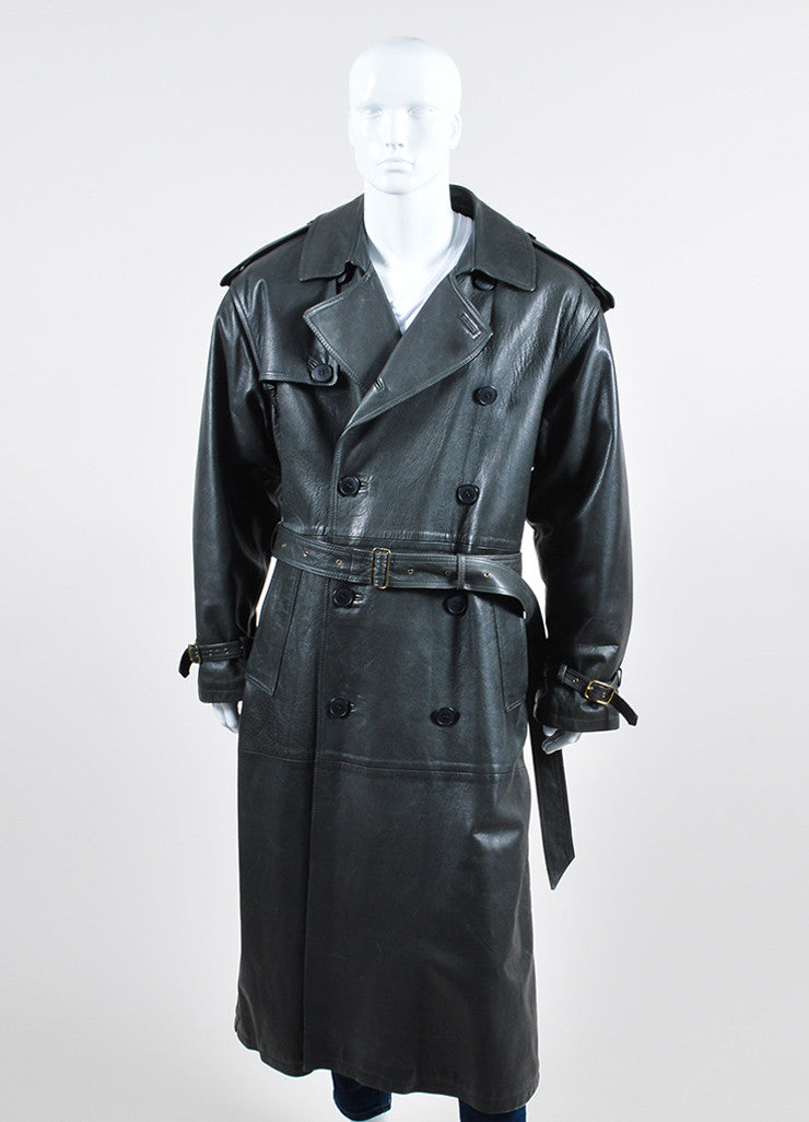 Men's Giorgio Armani Charcoal Grey Leather Belted Trench Coat Frontview 2