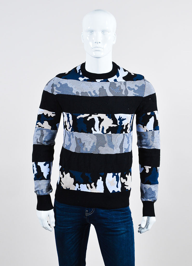 Men's Givenchy Black Blue Beige Camo Striped Sweater Front