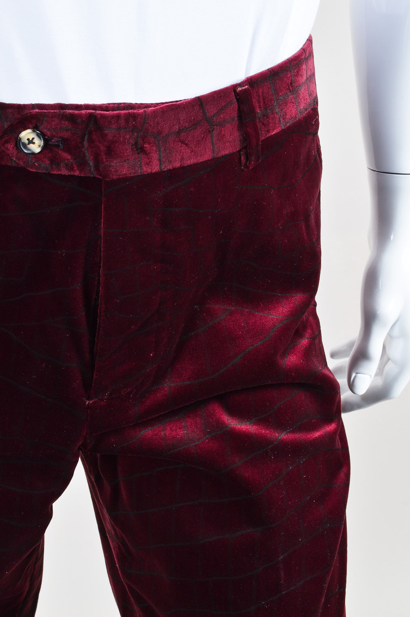 MEN'S Maroon Roberto Cavalli Velvet Alligator Trousers Detail