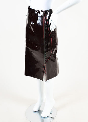 Maison Martin Margiela Maroon Patent Leather Midi Pencil Skirt Sideview