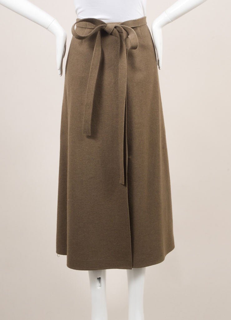Marc Jacobs Army Green Wool Wrap Belted A-Line Midi Skirt Backview