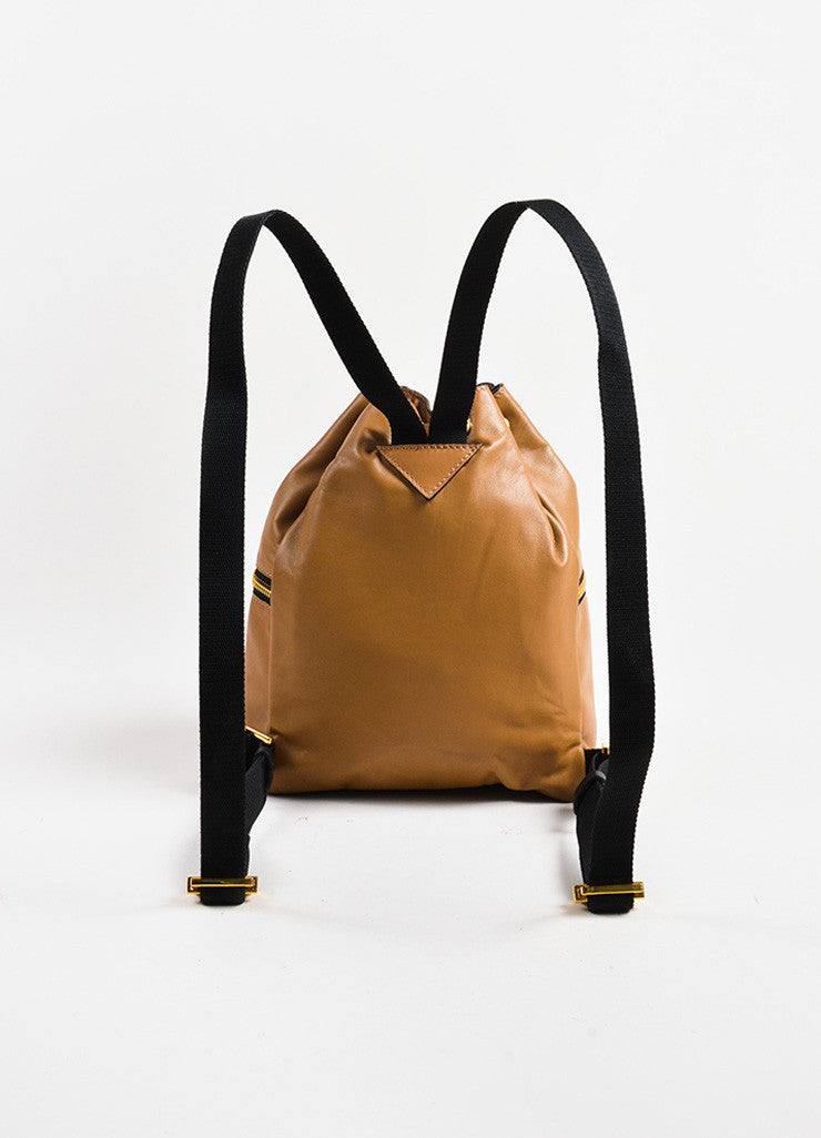 Marni Tan Leather Zip Detail Drawstring Bucket Backpack Bag Backview