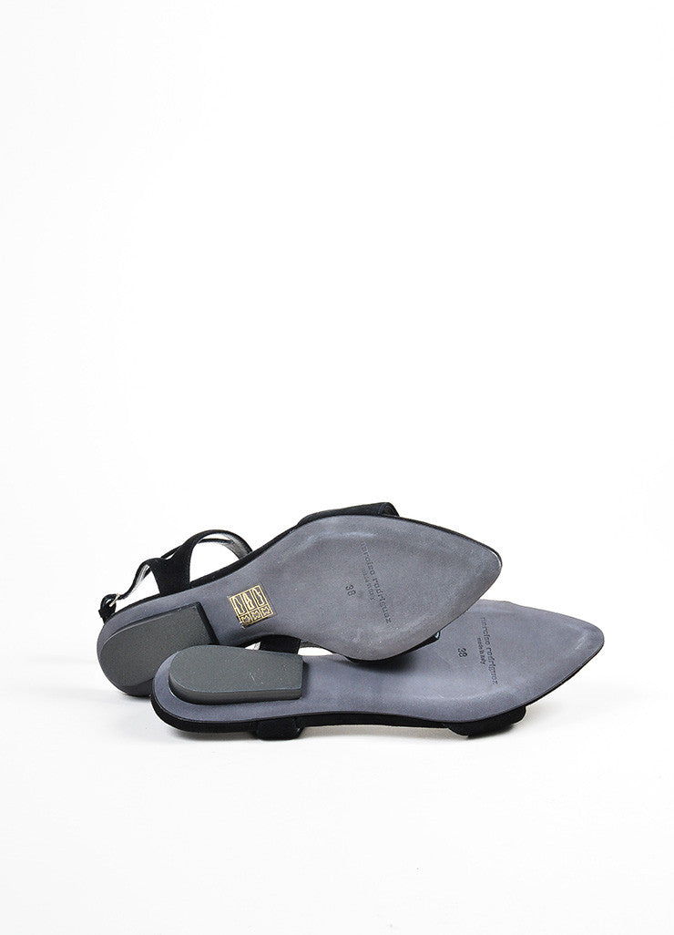 "Black Suede Narciso Rodriguez ""Carolyn"" Flat Sandals Outsoles"