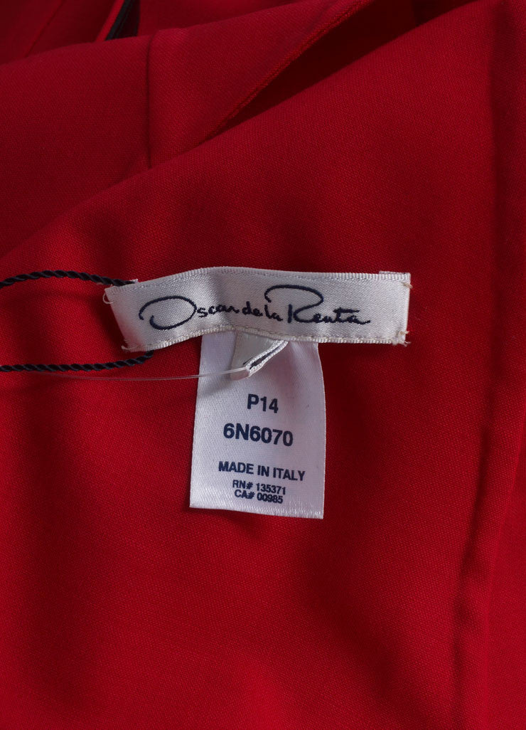 Oscar de la Renta New With Tags Red Stitched Side Ruffle Back Wool Sheath Dress Brand