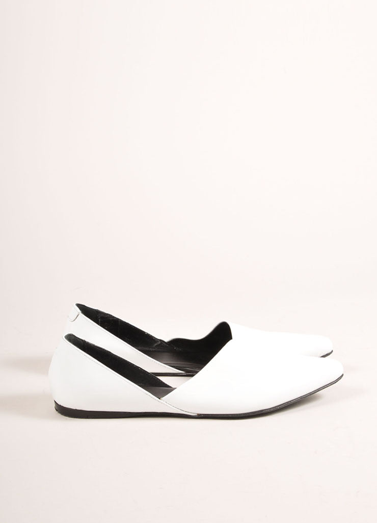 Pierre Hardy White Patent Leather Pointed Toe D'Orsay Flats Sideview