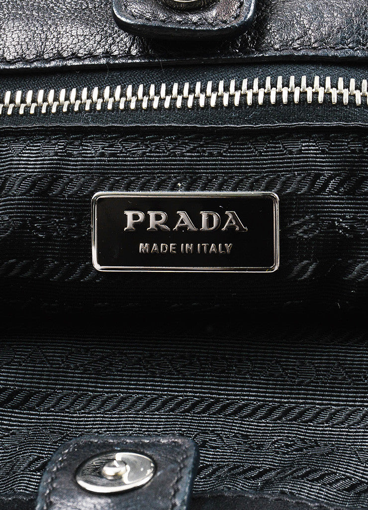 Prada Black Nappa Leather Woven Shopper Tote Bag Brand