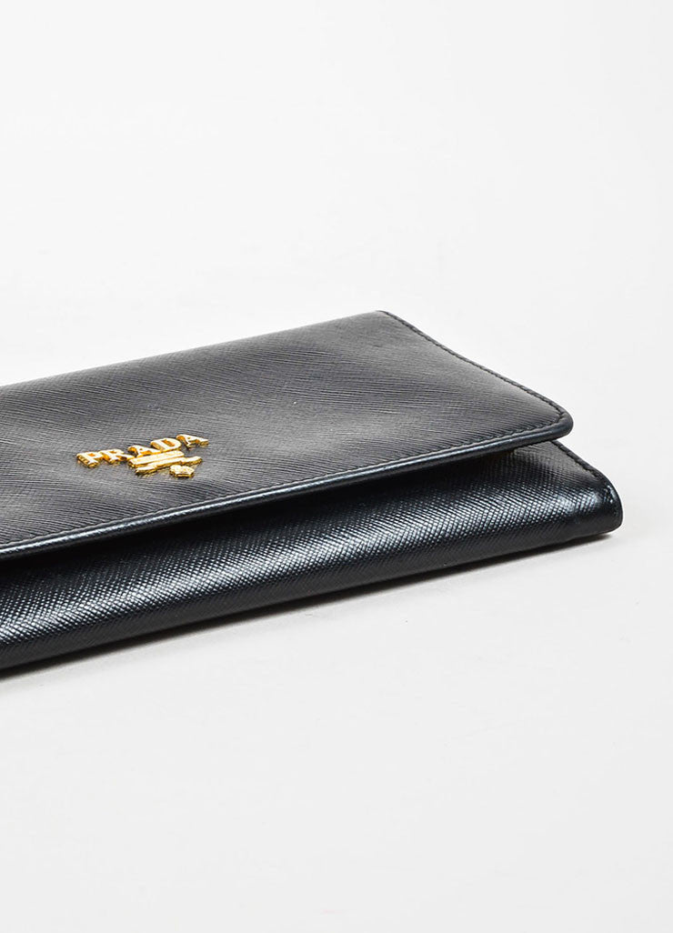 Prada Black Saffiano Leather Gold Toned Metal Trifold Continental Wallet Bottom View