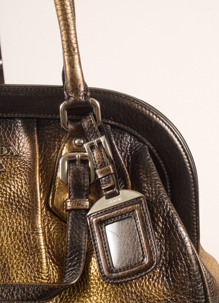 Prada Bronze and Gold Pebbled Leather Ombre Structured Tote Bag Detail 2