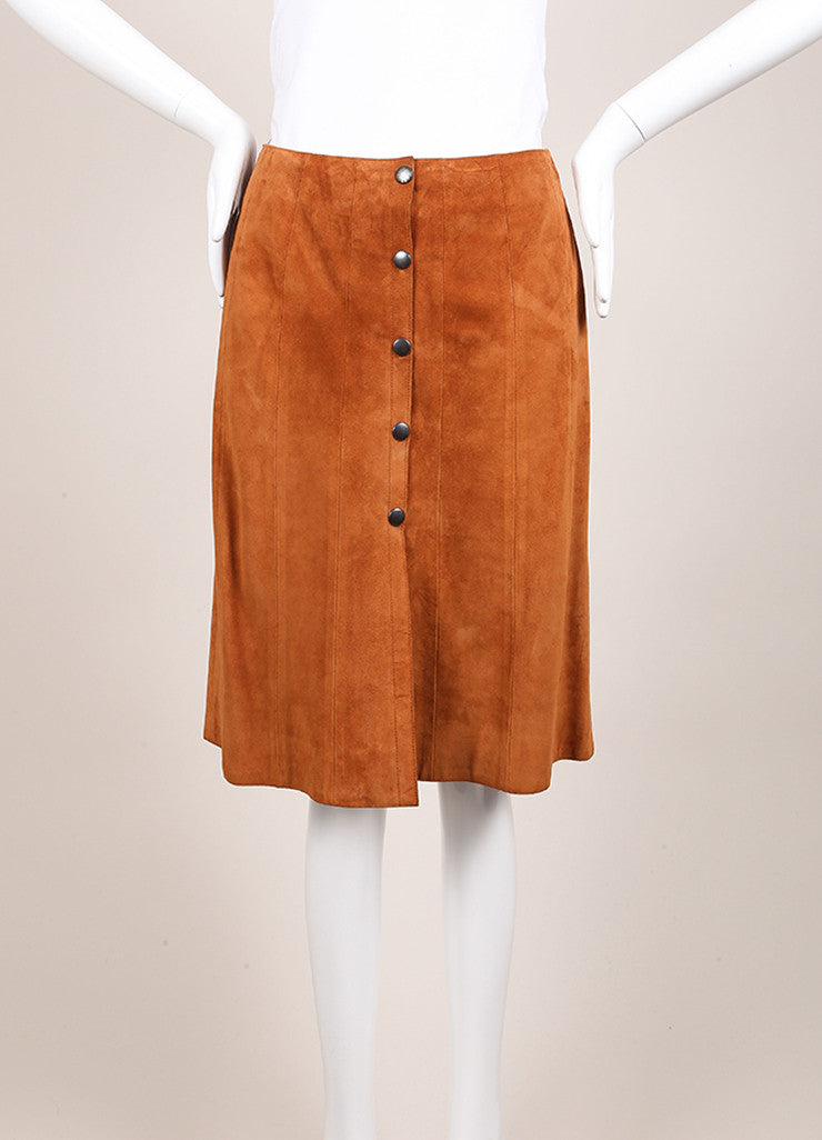 Prada Cognac Suede Leather Button Down A-Line Skirt Frontview
