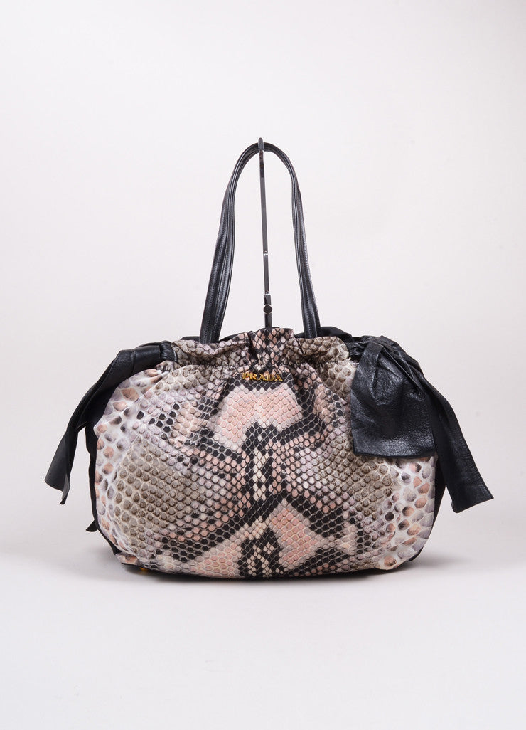 Prada Pink and Black Snakeskin Print Nylon Leather Bow Shoulder Bag Frontview
