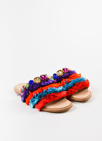 "Stella Jean Multicolor Raffia Jewel ""Zone Manager"" Slide Sandals Frontview"