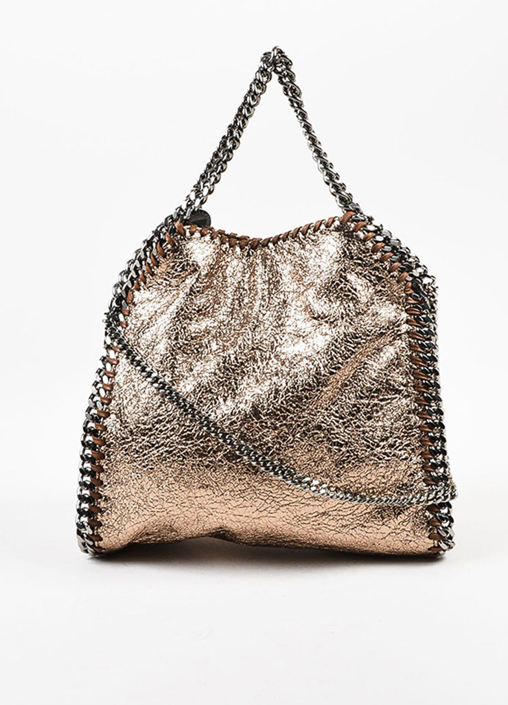 "Stella McCartney Bronze Metallic Mini ""Falabella"" Chain Strap Tote Bag Frontview"