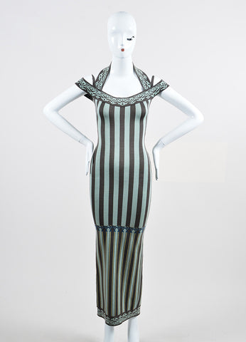 Mint Green and Grey Alaia Stretch Cotton Knit Striped Halter Long Dress Frontview