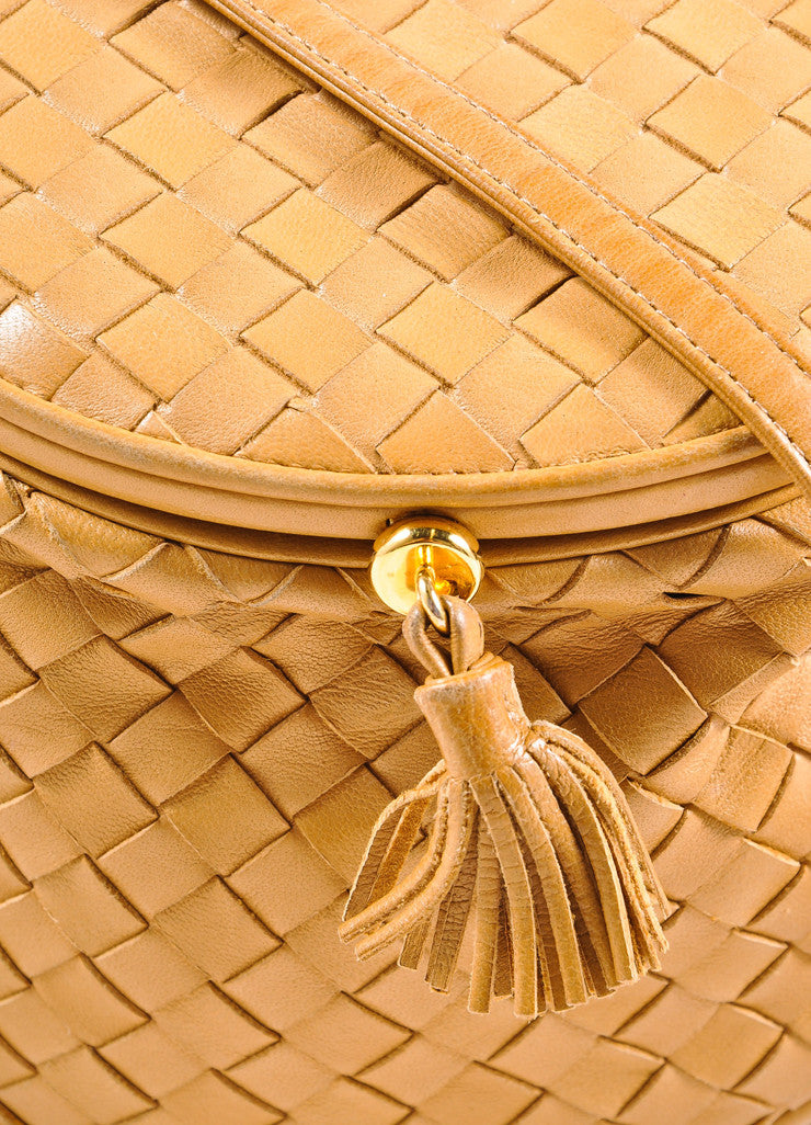 Bottega Veneta Tan Intrecciato Woven Leather Small Flap Cross Body Bag Detail 2