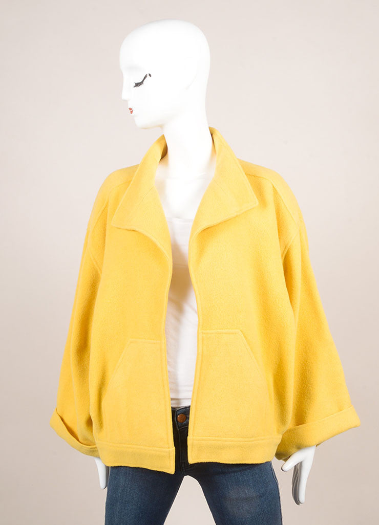 Chloe Yellow Wool Oversized Open Front Crop Sleeve Coat Frontview