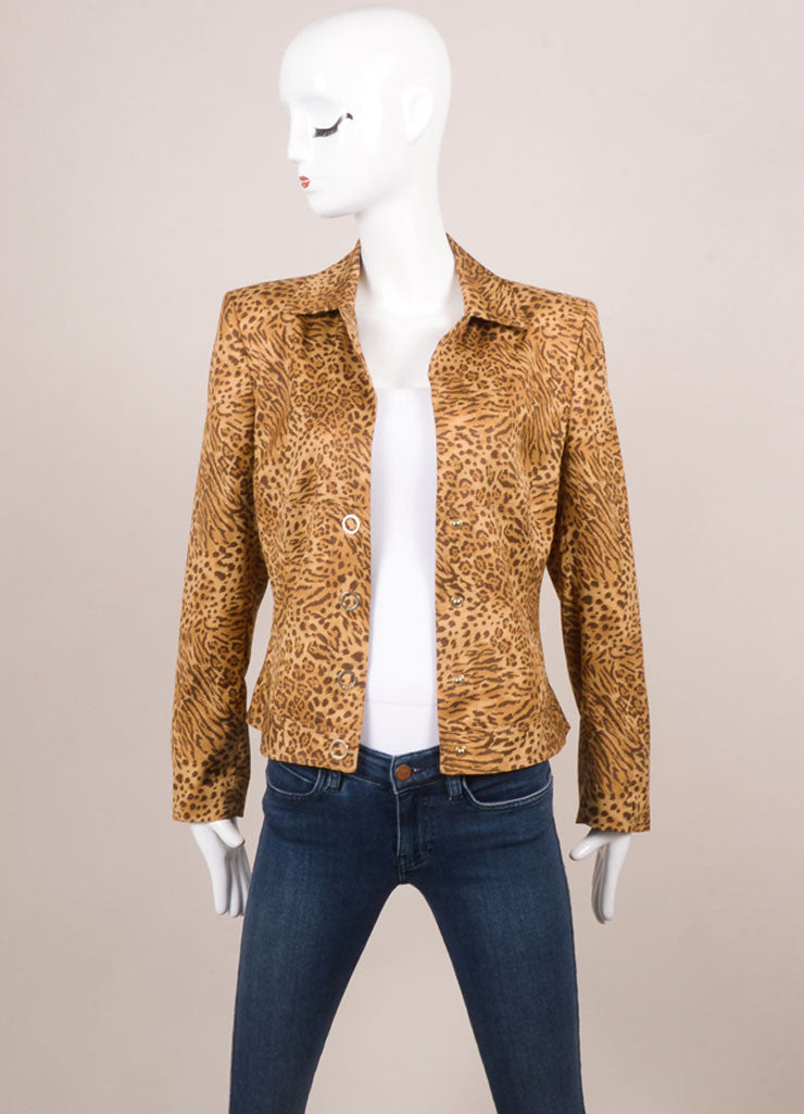 Gianni Versace Brown Silk Leopard Print Tailored Button Jacket Frontview