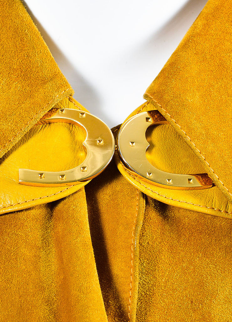 Gucci Yellow Suede Leather Trim Horseshoe Hardware Long Jacket Detail