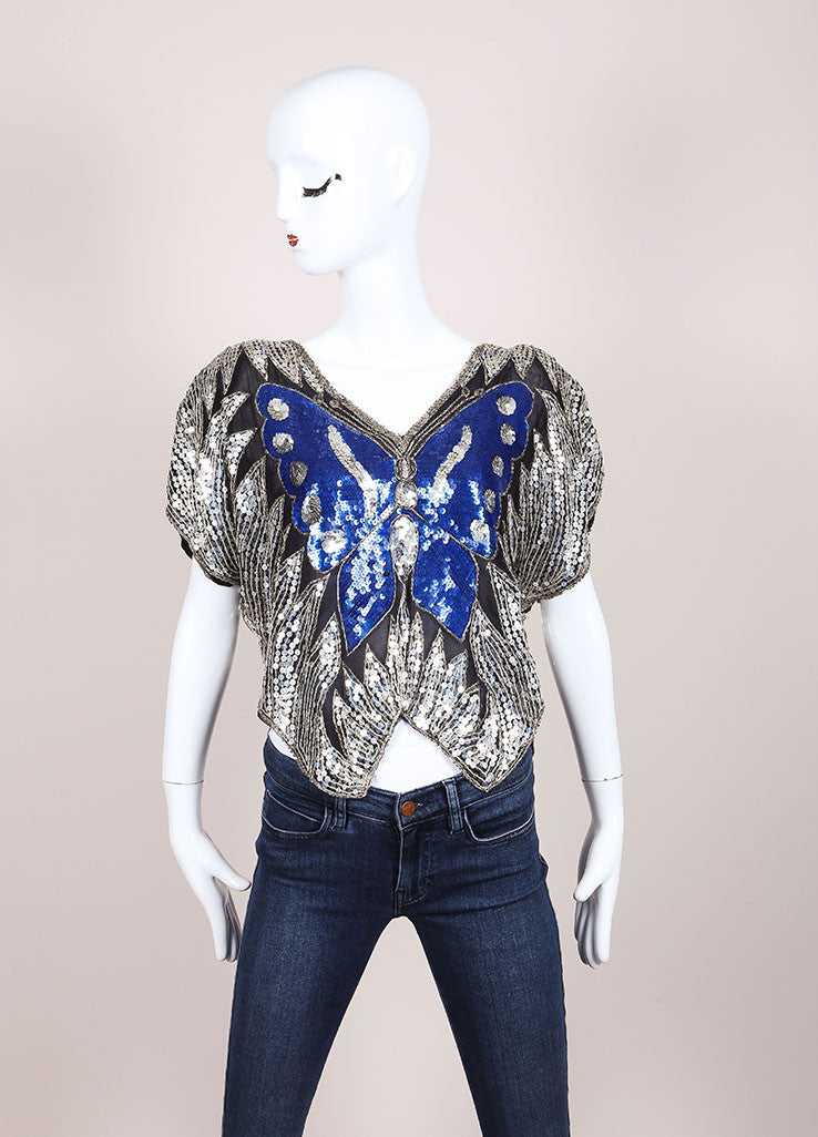 Gunit Black, Silver, and Blue Butterfly Sequin Asymmetric Hem Draped Blouse Frontview