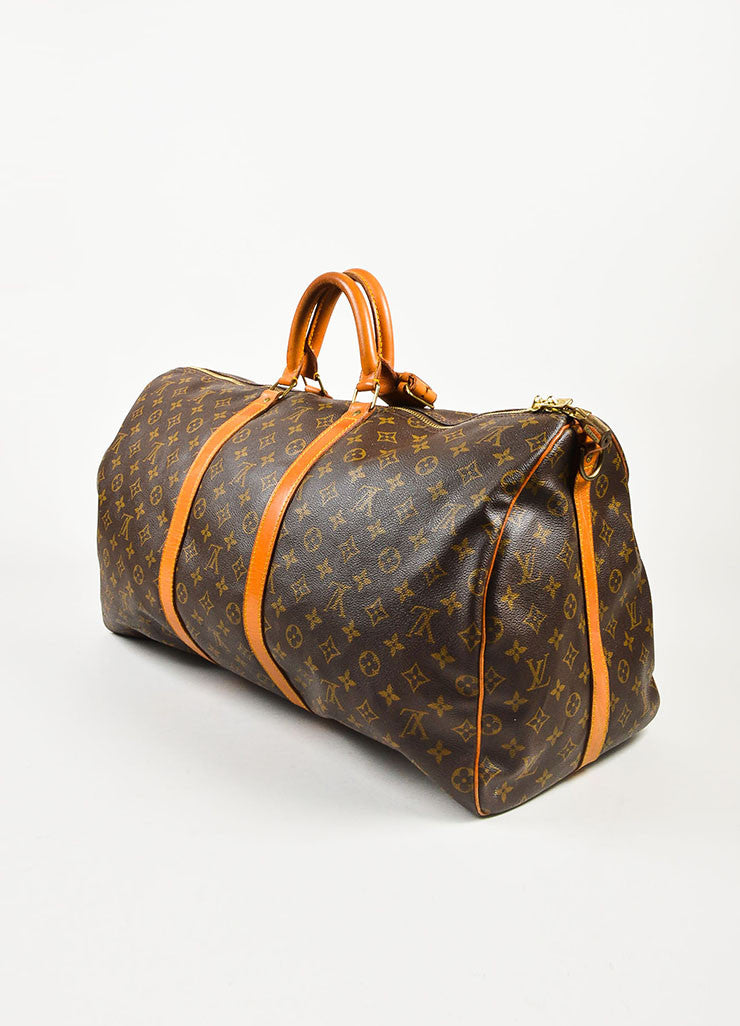 "Louis Vuitton Brown Coated Canvas Monogram ""Keepall 55"" Duffle Bag Sideview"