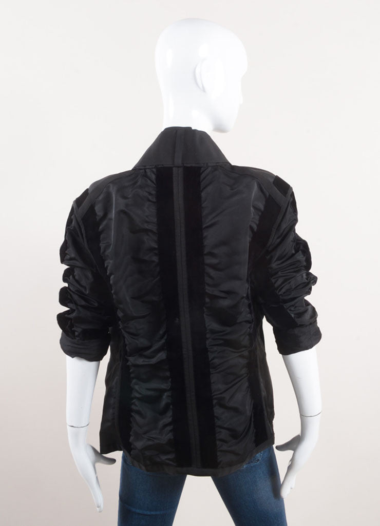 Yves Saint Laurent Black Ruched Velvet Trim Tie Jacket Backview