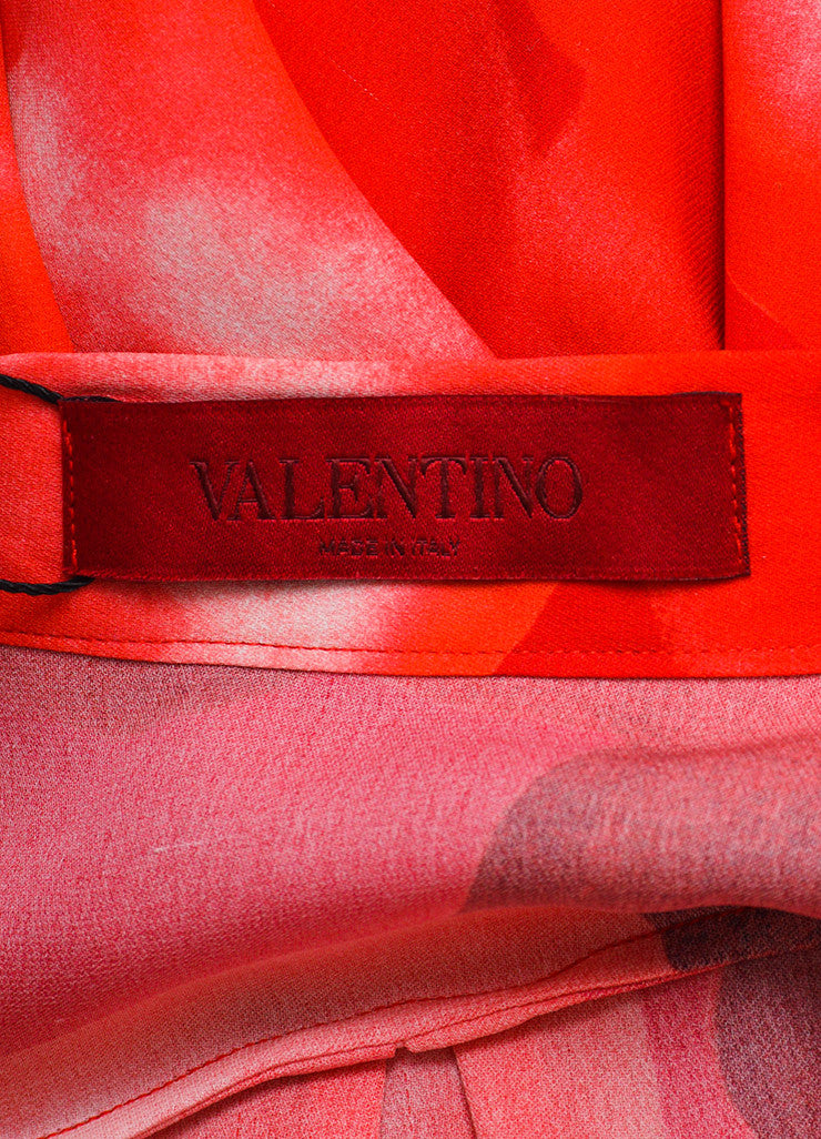 "Valentino Red Silk ""L'amour"" Heart Print Long Sleeve Blouse Brand"