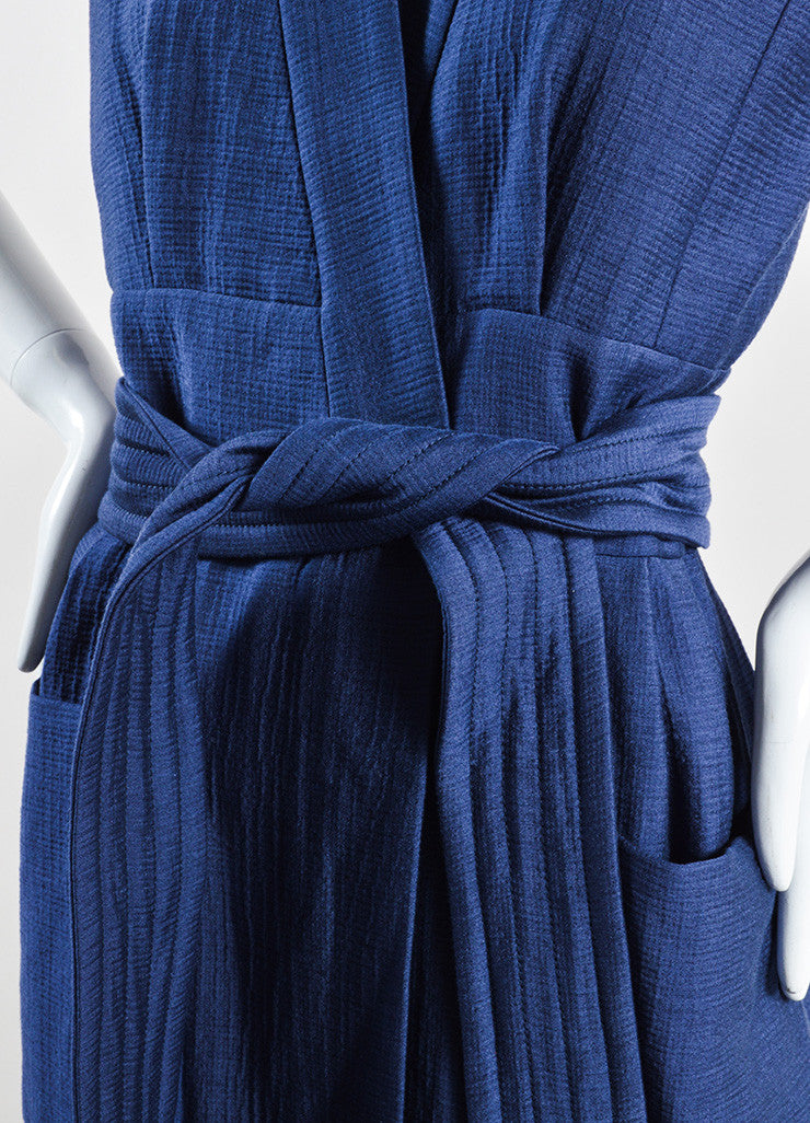 Victoria Beckham Blue Cotton Wool Matelasse Belted Sleeveless Dress Detail