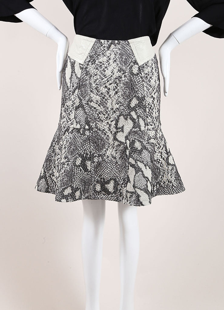 Yigal Azrouel Grey Reptile Texture Stretch Jacquard Skirt Frontview