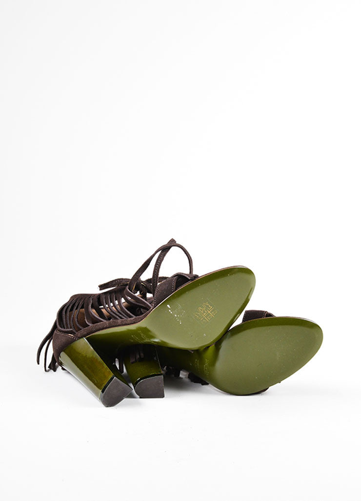 Brown and Green Yves Saint Laurent Suede Leather Fringe Chunky Heel Sandals Outsoles
