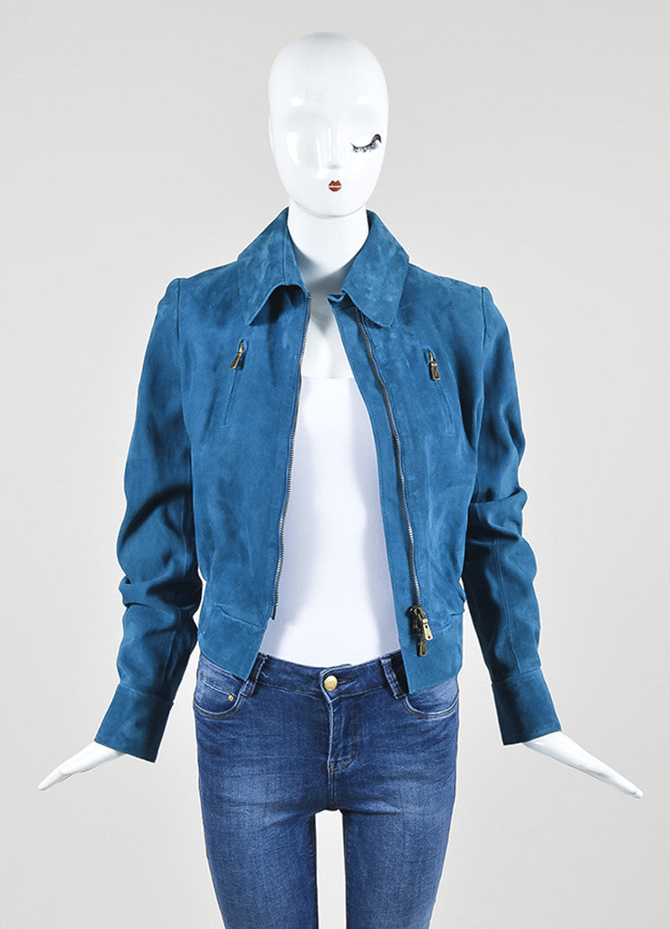 Cerulean Blue Yves Saint Laurent Suede Leather Zip Up Motorcycle Jacket Frontview