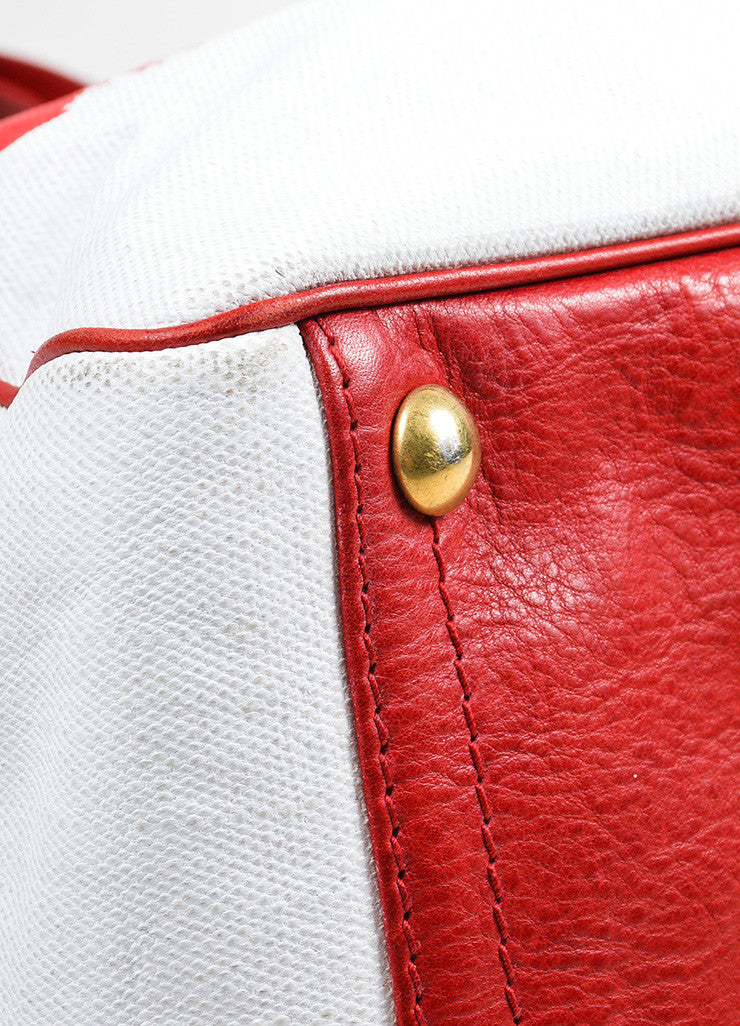 "Red and White Yves Saint Laurent Rive Gauche Canvas ""Raspail"" Painted Tote Bag Detail"