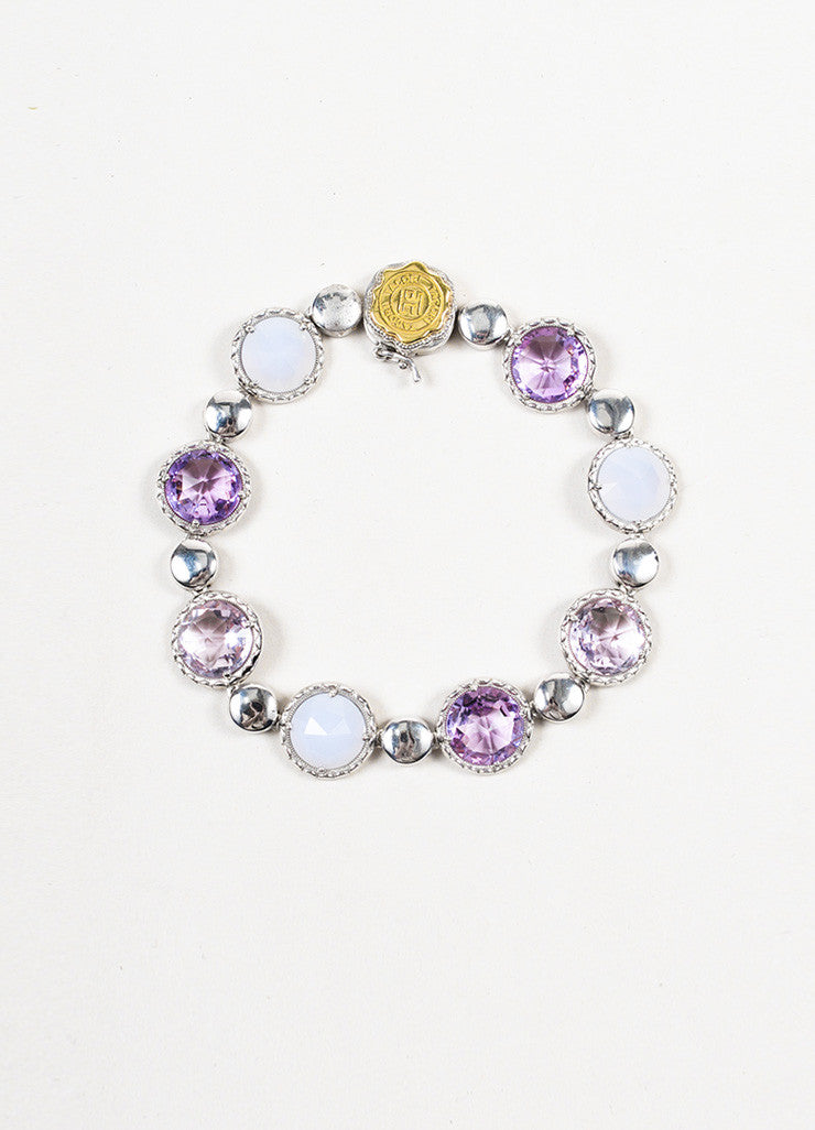 Tacori Sterling Silver, Amethyst, and Chalcedony Lilac Blossoms Bracelet Frontview
