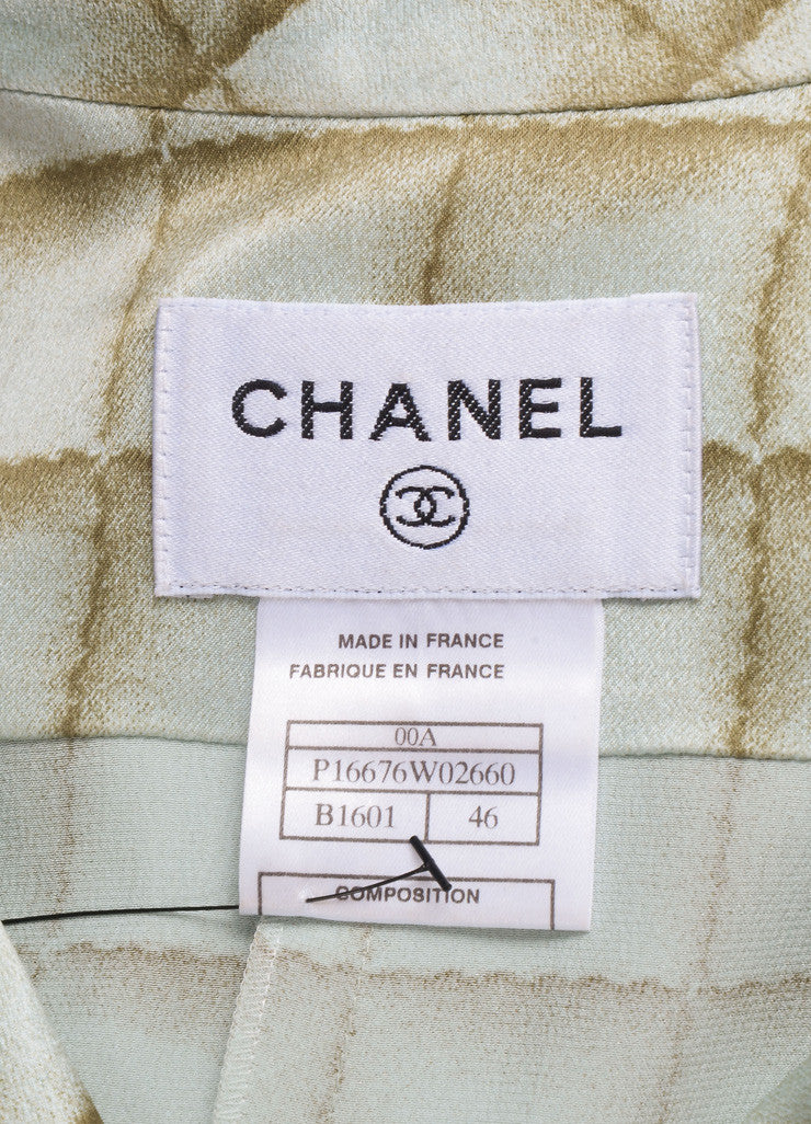 Chanel Light Blue and Light Green Silk Square Print Belted Shirt Dress Brand