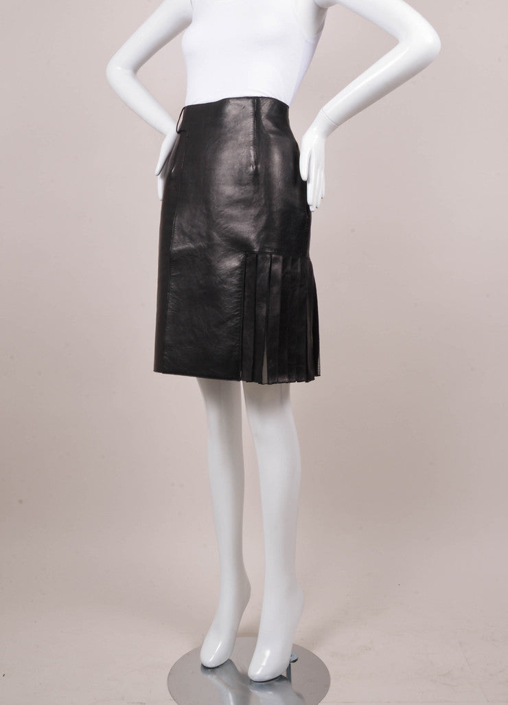 Black Asymmetric Pleated Mesh Leather Pencil Skirt